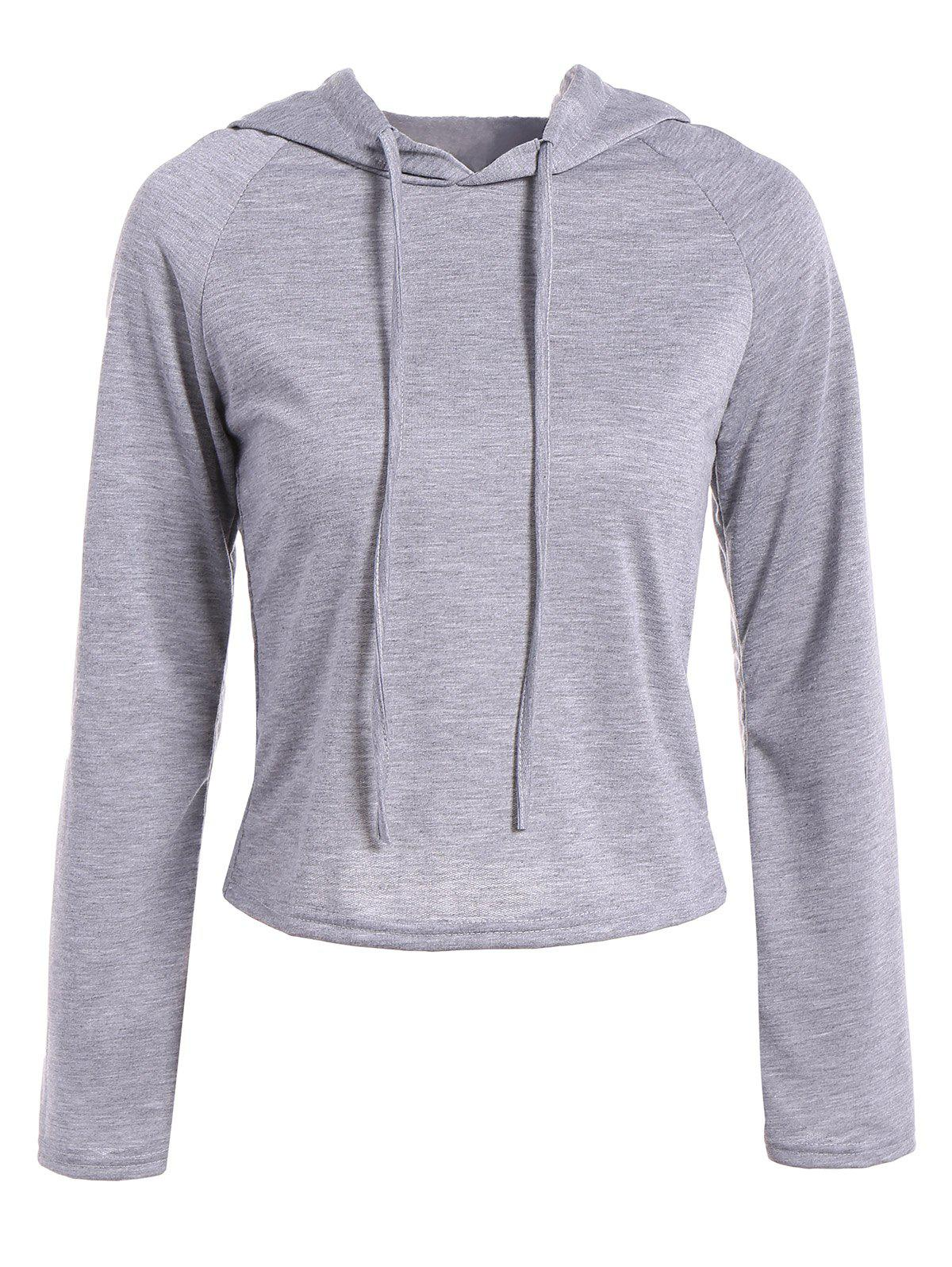 Raglan Sleeve Drawstring Hooded T-ShirtWomen<br><br><br>Size: M<br>Color: GRAY