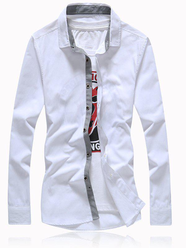 Turn-Down Collar Button Splicing Plus Size Shirt - WHITE 3XL