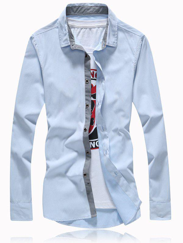 Turn-Down Collar Button Splicing Plus Size Shirt - LIGHT BLUE 5XL