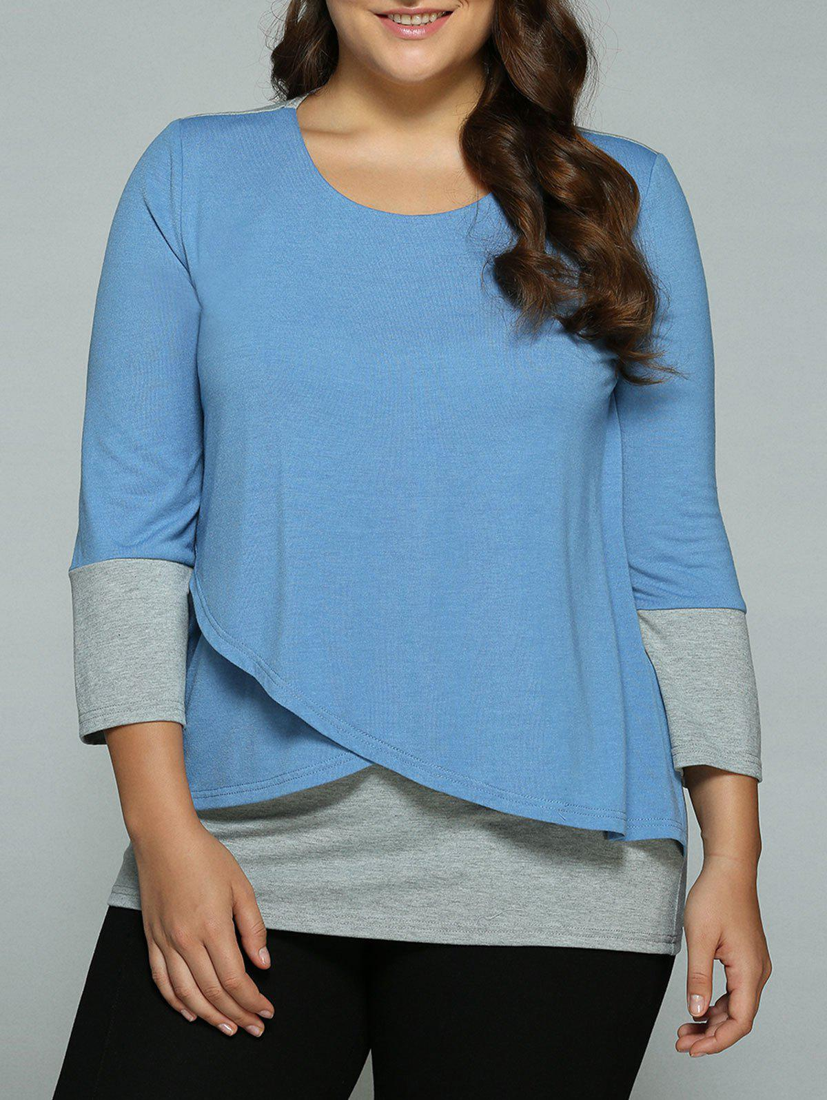 Plus Size Overlay Spliced BlouseWomen<br><br><br>Size: 4XL<br>Color: BLUE+GRAY