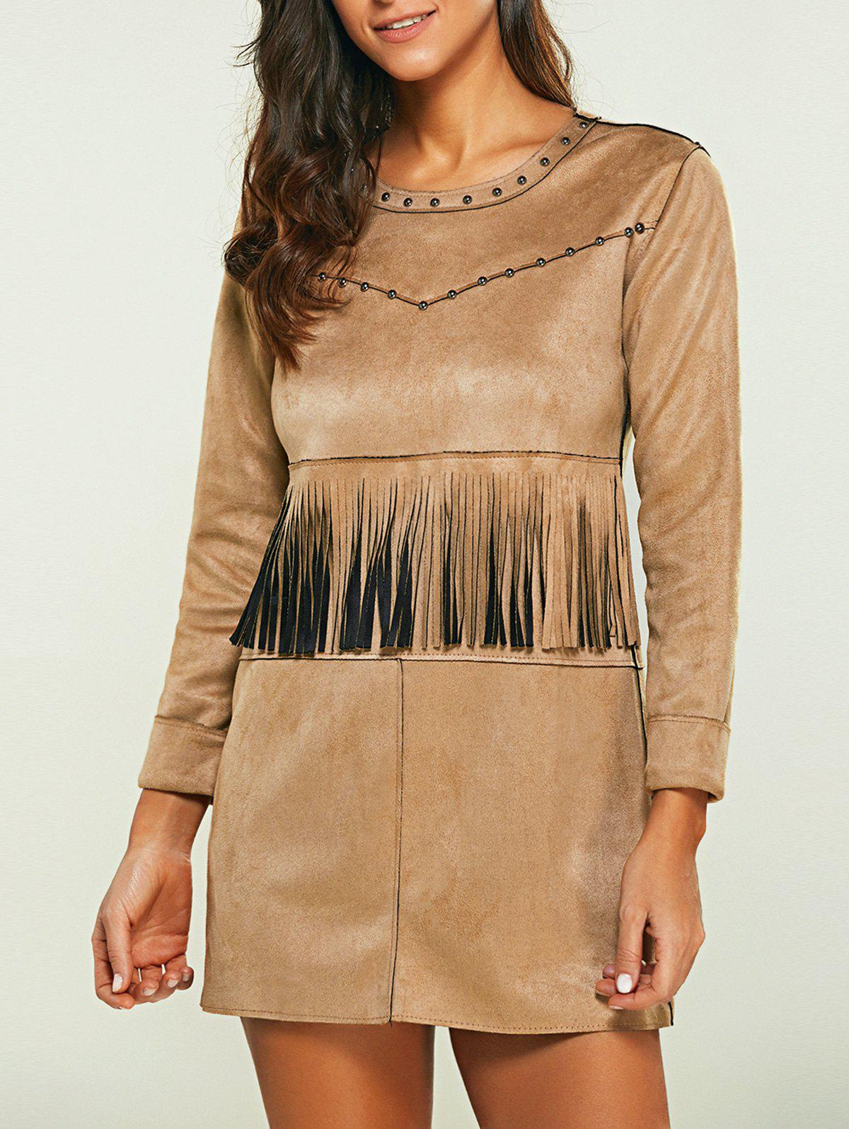 Rivet Faux Suede Long Sleeve Dress with Fringe genuine honda 77501 sh3 a01zf glove box