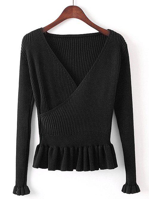Faux Wrap Plunge Peplum Knitwear - BLACK ONE SIZE