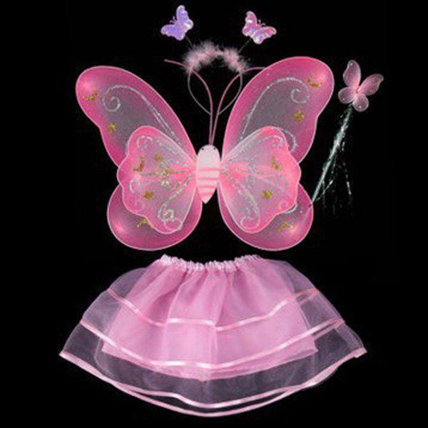 Halloween Cospaly Butterfly Angel 4PCS Kids Costume Set - PINK