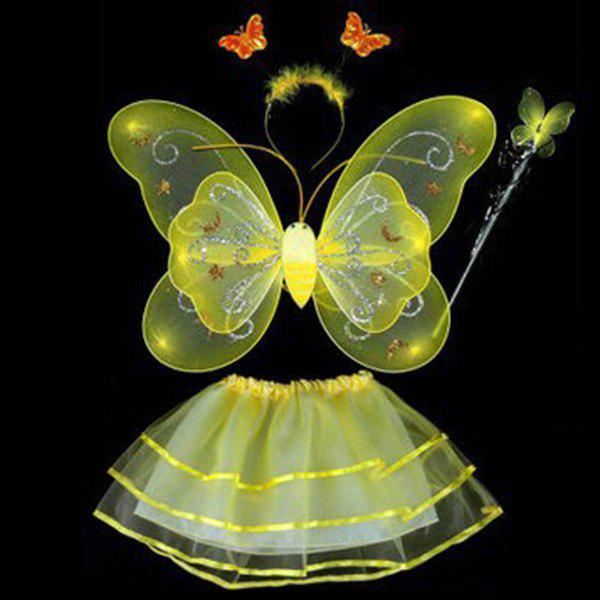 Cospaly Halloween papillon Ange 4PCS enfants Costume Set - Jaune