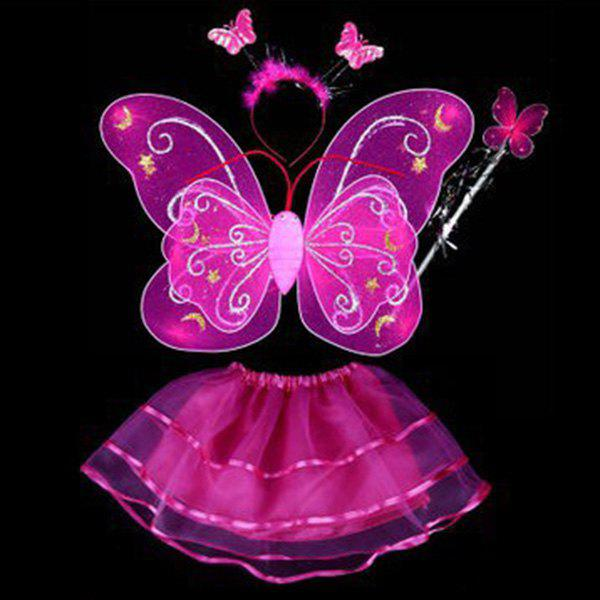 Halloween Cospaly Butterfly Angel 4PCS Kids Costume Set - ROSE RED