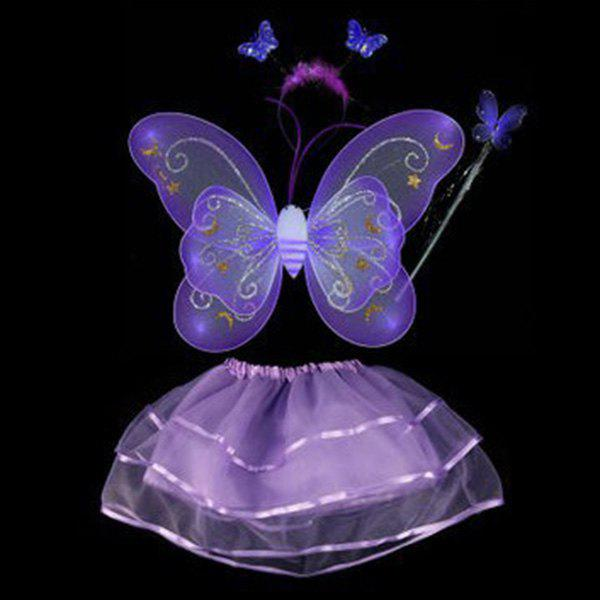 Halloween Cospaly Butterfly Angel 4PCS Kids Costume Set - PURPLE