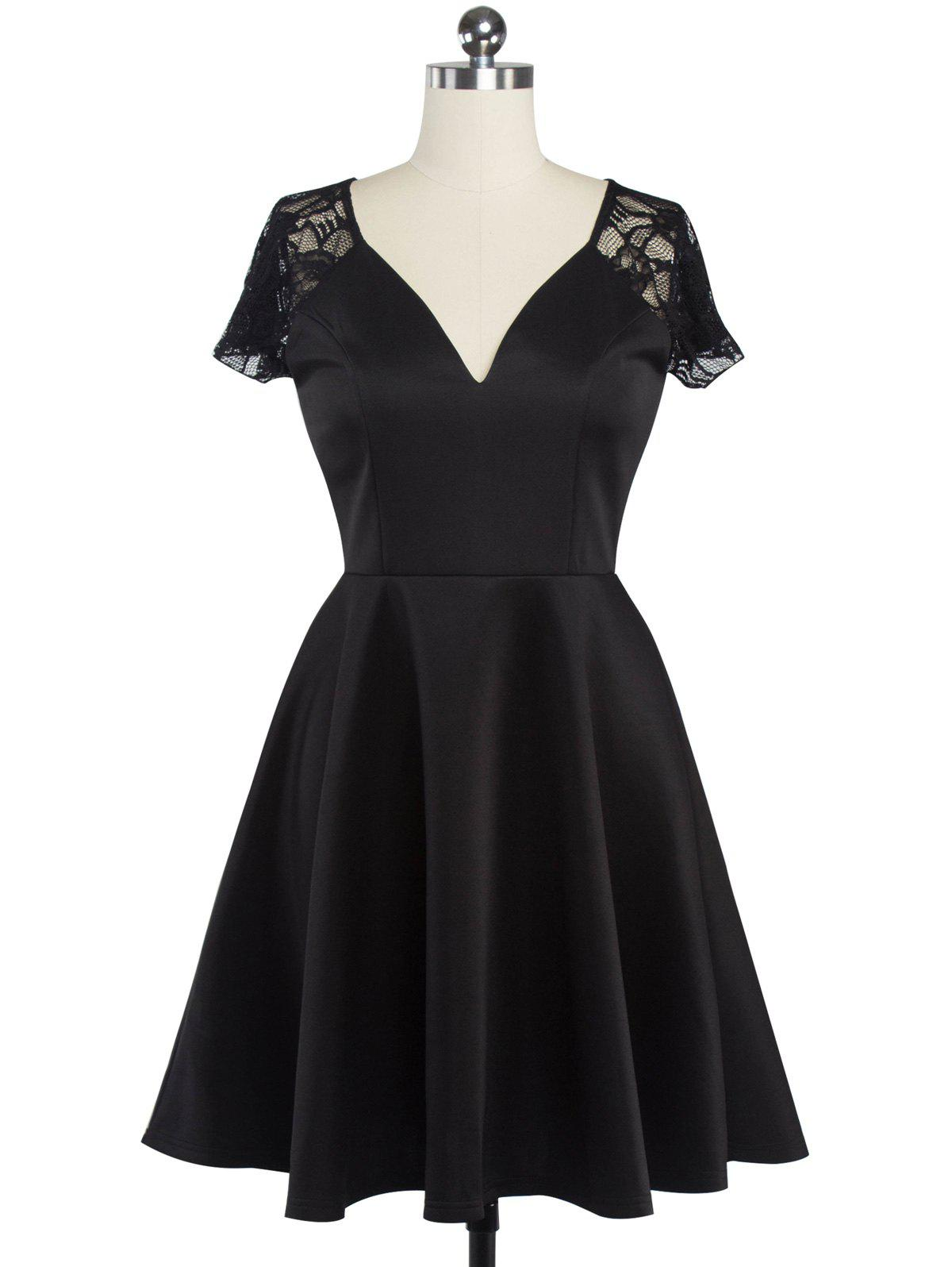 Fit et Flare Lace Spliced ​​Dress - Noir L