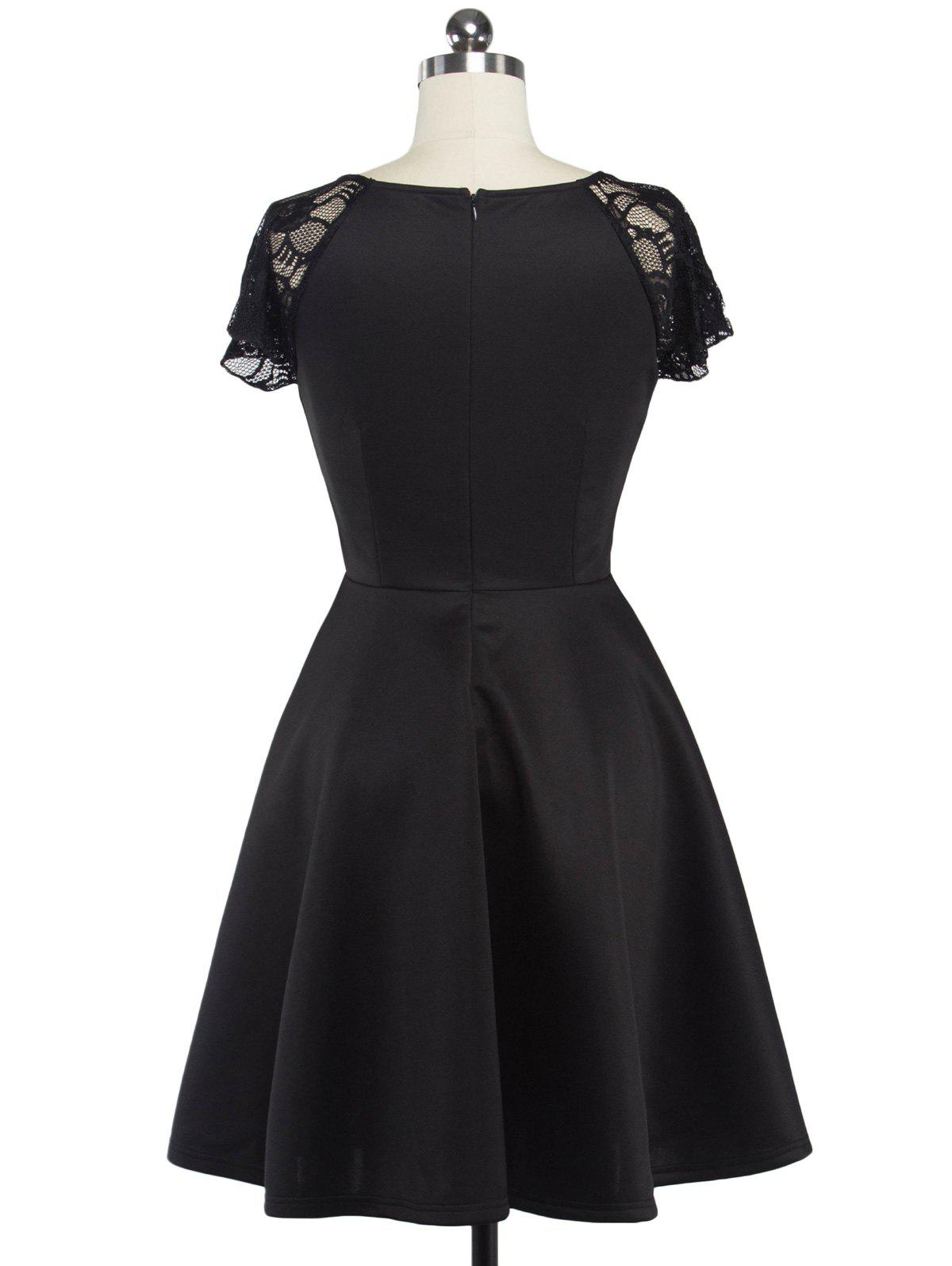 Fit and Flare Lace Spliced Dress - BLACK L