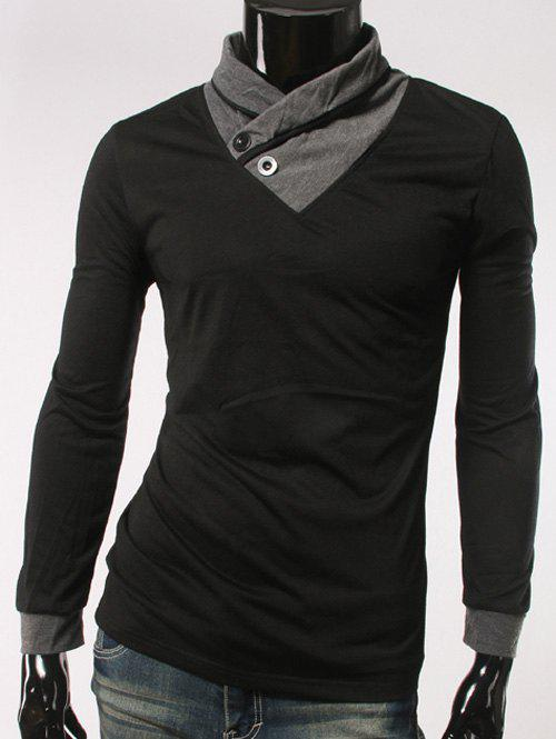 Shawl collar long sleeve button embellished t shirt black for Shawl collar t shirt
