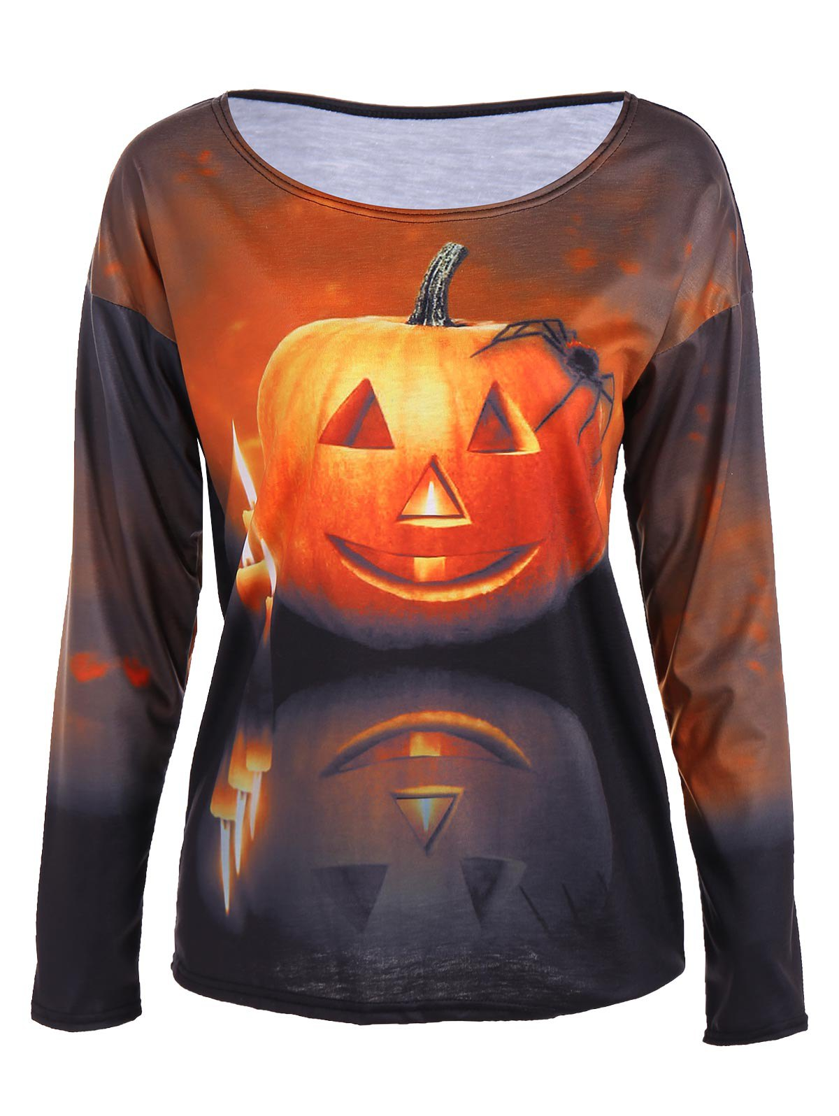 3D Pumpkin Print Halloween T-Shirt - COLORMIX S