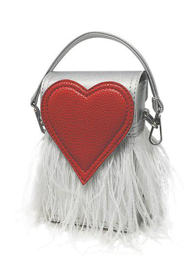 Color Block Heart Pattern Fringe Handbag - SILVER