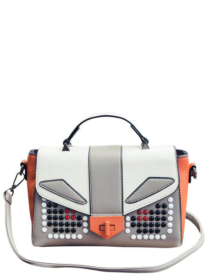 Beaded Color Block PU Leather Tote - GRAY