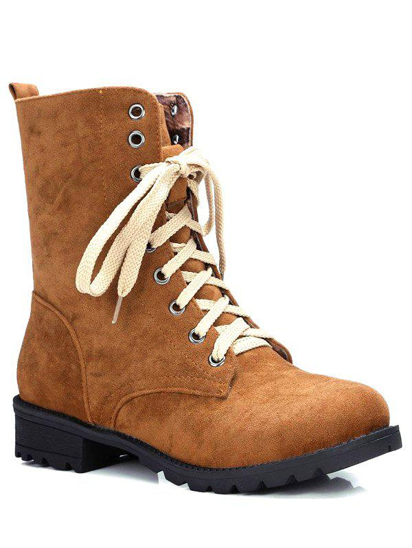 Trendy Lace-Up and Solid Color Design Women's Combat Boots - BROWN 37