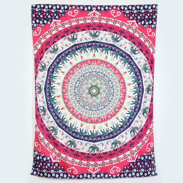 Rectangle Elephant Floral Print Beach Throw - ROSE MADDER