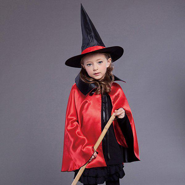 Halloween Witch Cospaly Prop Kids Cloak Costume Set - RED/BLACK