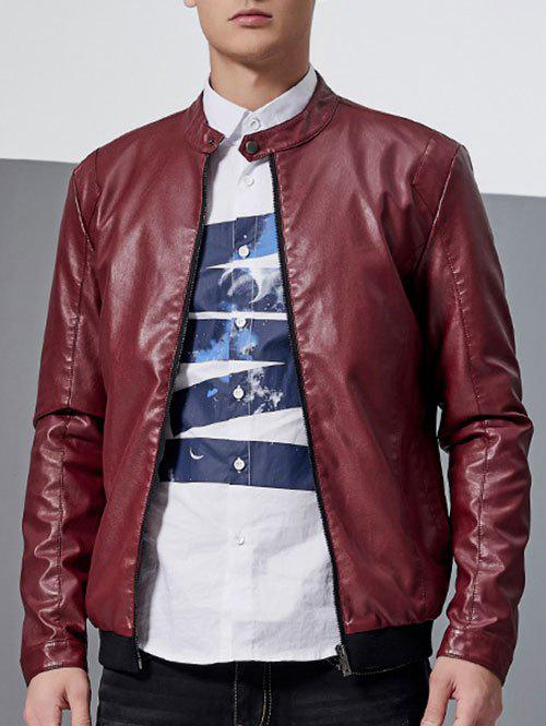Stand Collar Zip-Up Faux Leather Jacket - RED M