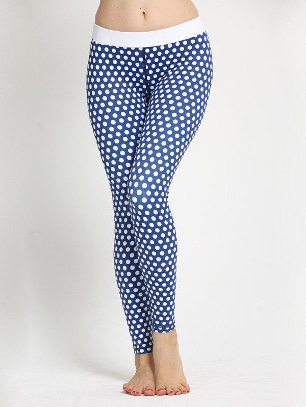 Polka Dot Skinny Yoga Leggings - BLUE XS