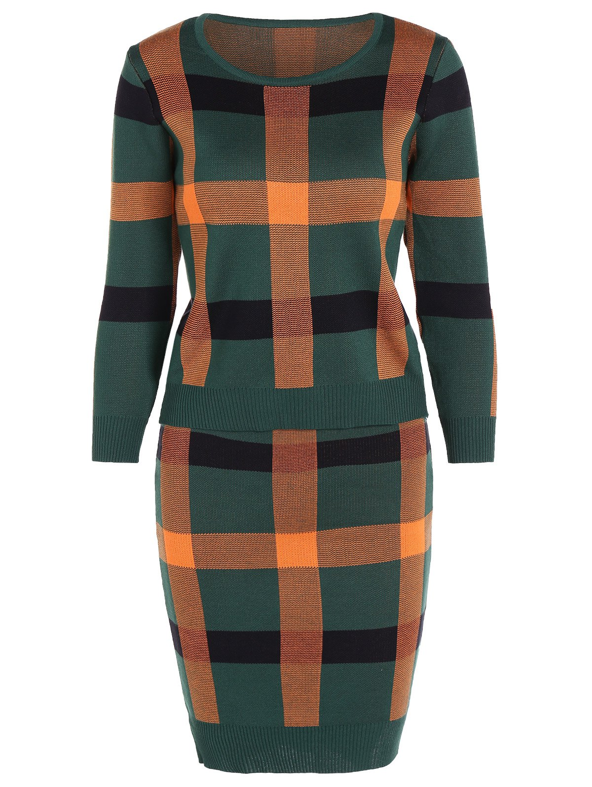 Knitted Plaid Two Piece Dress - GREEN ONE SIZE