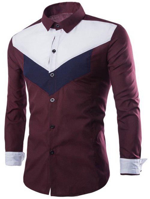 Color Splicing Single-Breasted Long Sleeves ShirtMen<br><br><br>Size: L<br>Color: WINE RED