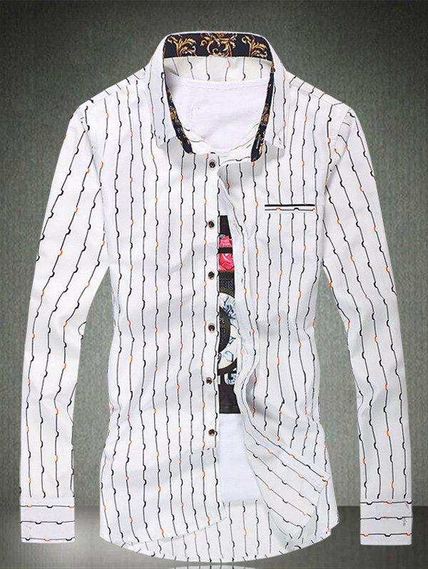 Long Sleeve Vertical Wave Line Printed Shirt - WHITE 2XL