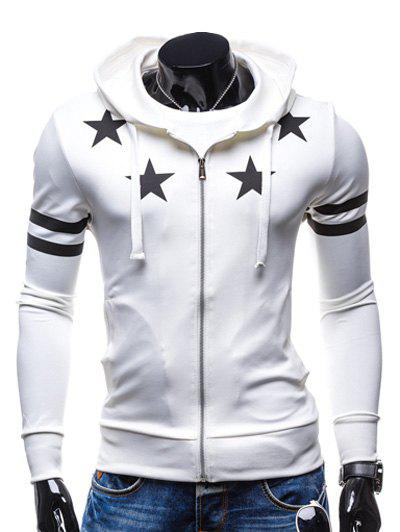 Zip Up Star Print Drawstring Hoodie - WHITE M
