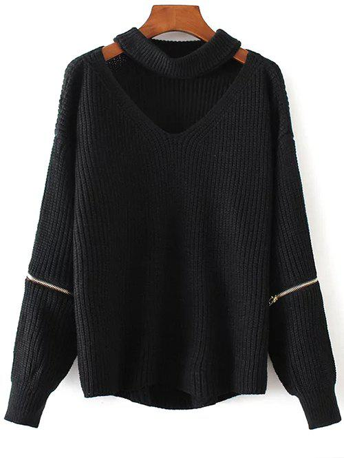 Chunky Choker Sweater - BLACK ONE SIZE