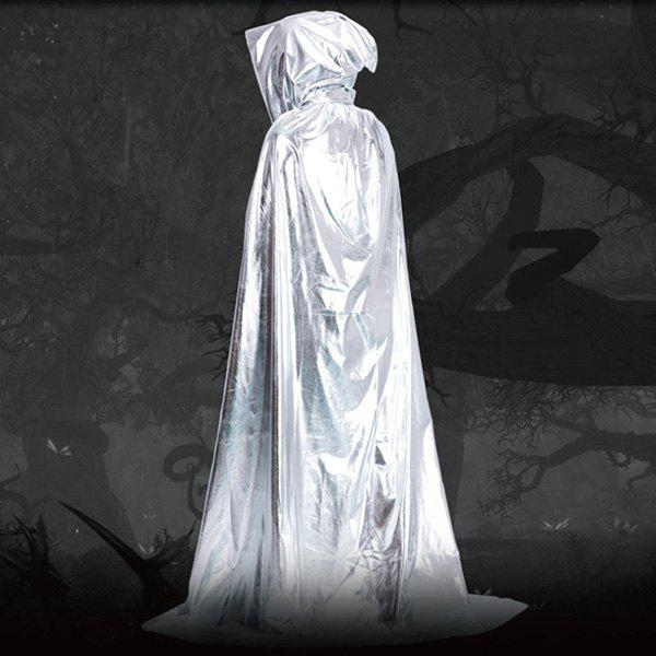 Fancy Dress Halloween Wizard Cospaly Hooded Cloak - SILVER