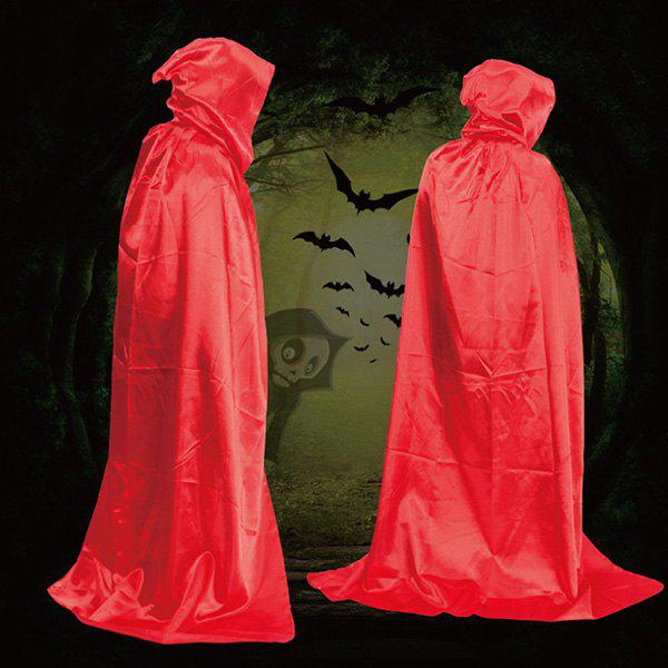 Fancy Dress Halloween Wizard Cospaly Hooded Cloak - RED
