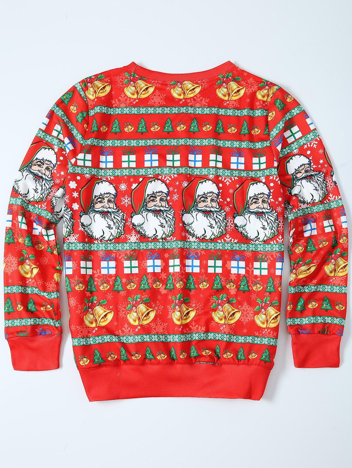Father Christmas Print Loose Fit Sweatshirt - RED M