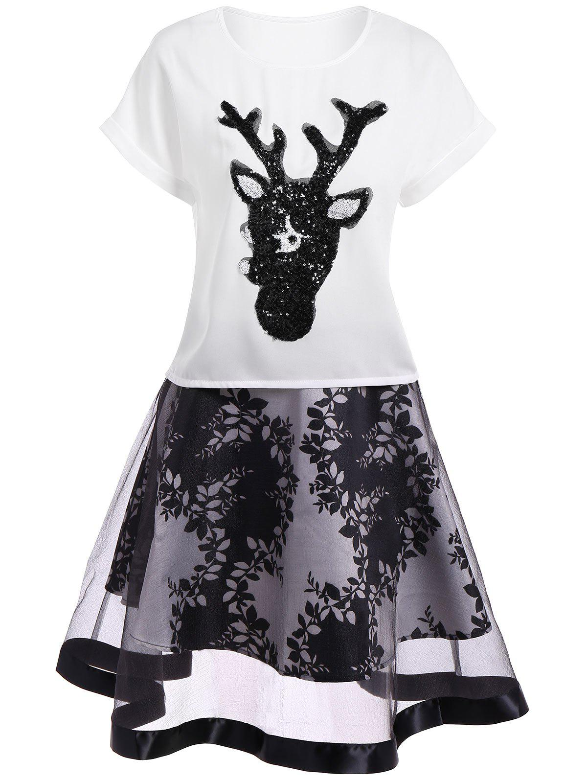 Sequins Embellished Deer Pattern Blouse and Plant Print Mesh Skirt - WHITE M