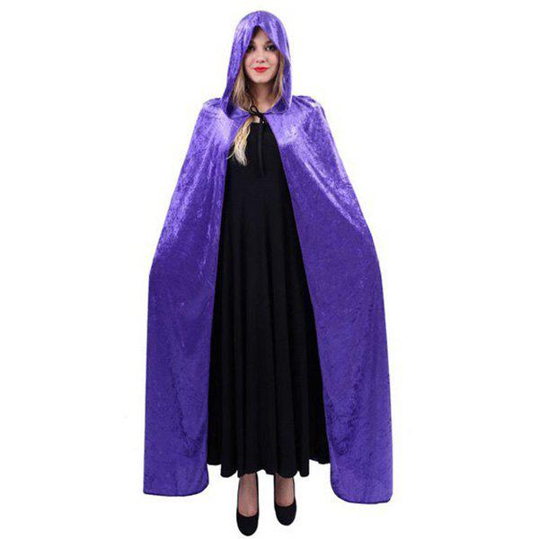 Fancy Dress Halloween Cospaly Witch Hooded Cloak - PURPLE