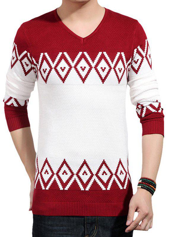 V-Neck Color Block Splicing Geometric Knitting Sweater crew neck geometric color block splicing plus size sweater