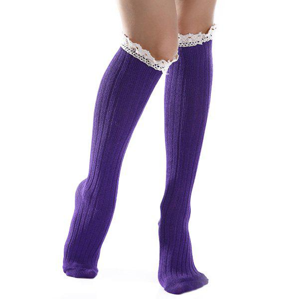 Lace Trim Knit Stockings lace trim overknee sheer stockings