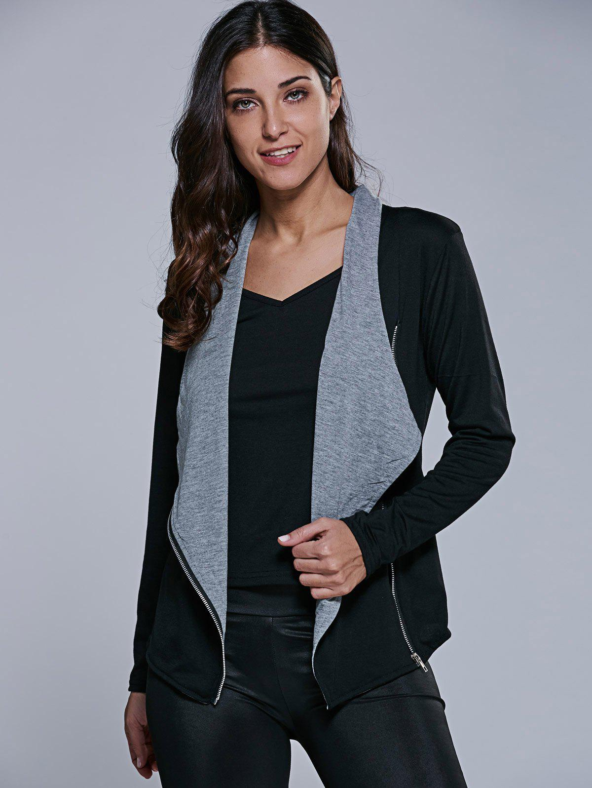Two Tone Asymmetrical Zip Jacket - BLACK/GREY S