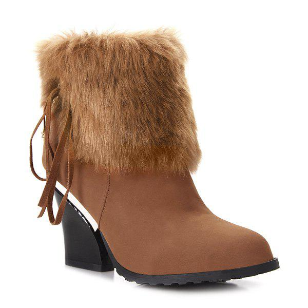 Chain Chunky Heel Faux Fur Short Boots - BROWN 38