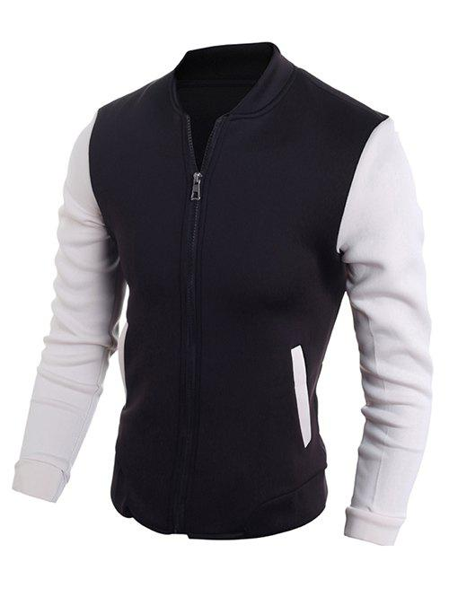 Stand Collar Zip-Up Color Block Jacket - BLACK XL