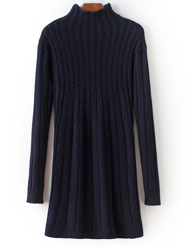 High Neck Cable Knit Fitted Sweater Dress - PURPLISH BLUE ONE SIZE