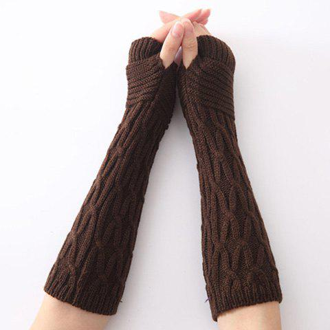 Christmas Criss-Cross Crochet Knit Arm Warmers - COFFEE