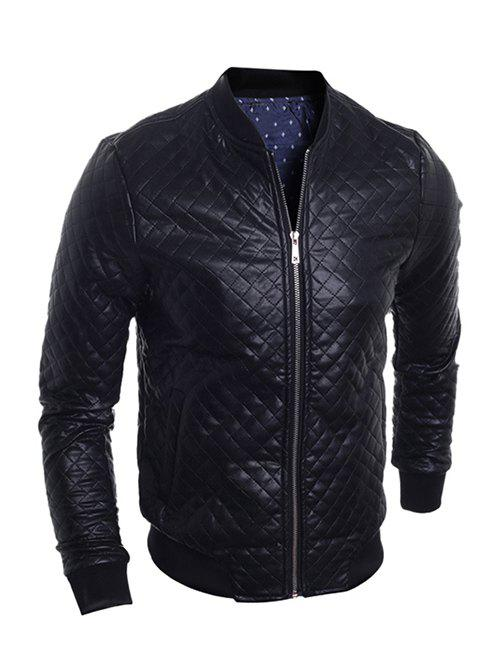 Stand Collar Zip-Up Argyle PU-Leather Bomber Jacket - BLACK XL