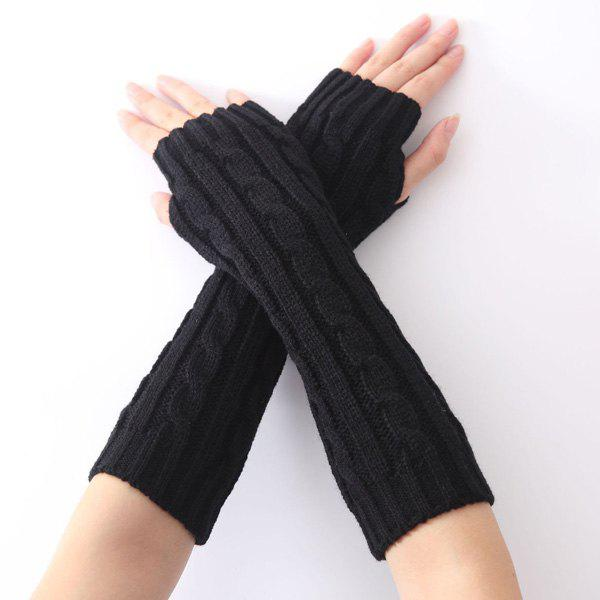 Christmas Hemp Flowers Crochet Knit Arm Warmers - BLACK
