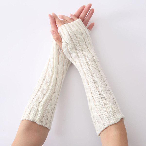 Christmas Hemp Flowers Crochet Knit Arm Warmers - WHITE