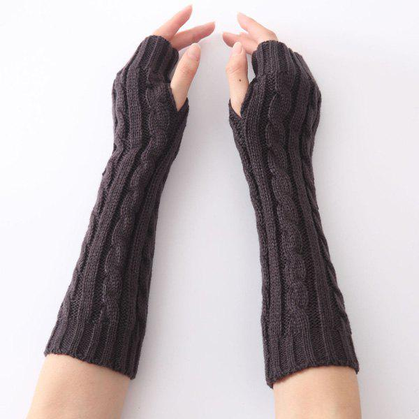 Christmas Hemp Flowers Crochet Knit Arm Warmers - DEEP GRAY