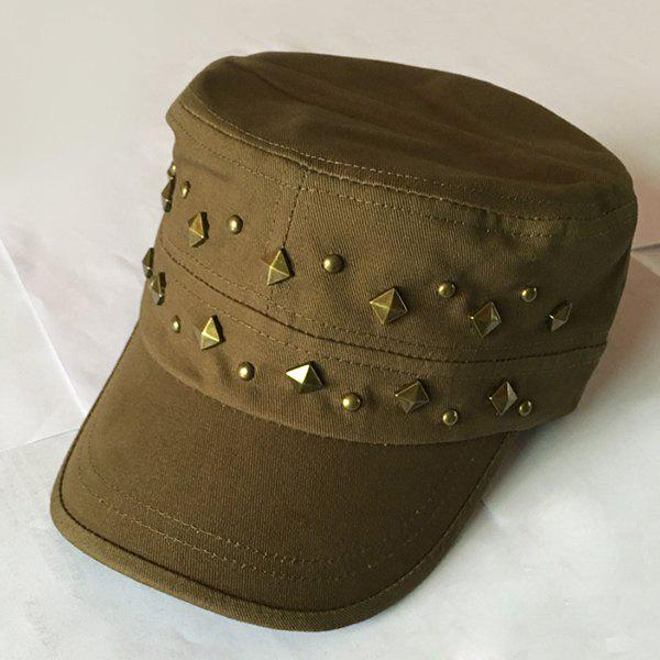 Stylish Rivets Embellished Solid Color Women's Military Hat - ARMY GREEN