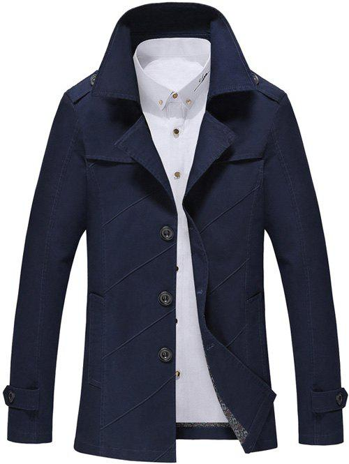 Turn-Down Collar Long Sleeve Single Breasted Jacket single breasted long sleeve turn down collar jacket