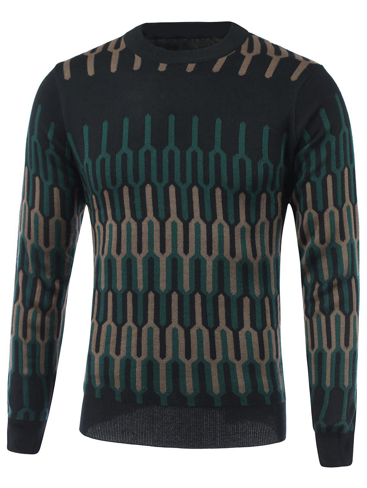 цены Geometric Spliced Print Round Neck Long Sleeve Sweater