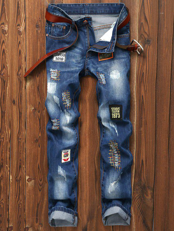 Patched Appliques Holes Zipper Fly Straight Leg Jeans plus size zipper fly stud and appliques design straight leg jeans