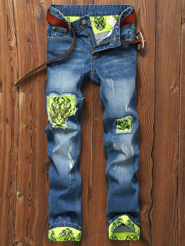 Tiger and Skull Print Holes Zipper Fly Straight Leg Jeans - BLUE 34