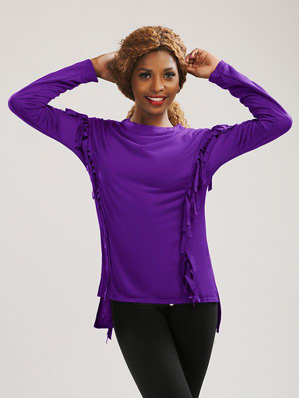 Long Sleeve High Low Fringed T-ShirtWomen<br><br><br>Size: M<br>Color: PURPLE