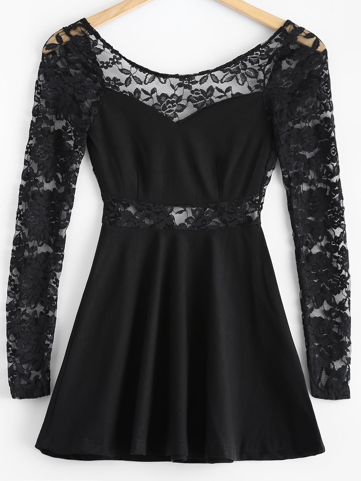 3/4 Sleeve Lace-Insert Backless Dress - BLACK L