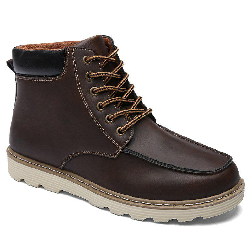 PU Leather Lace-Up Color Spliced Boots - DEEP BROWN 40